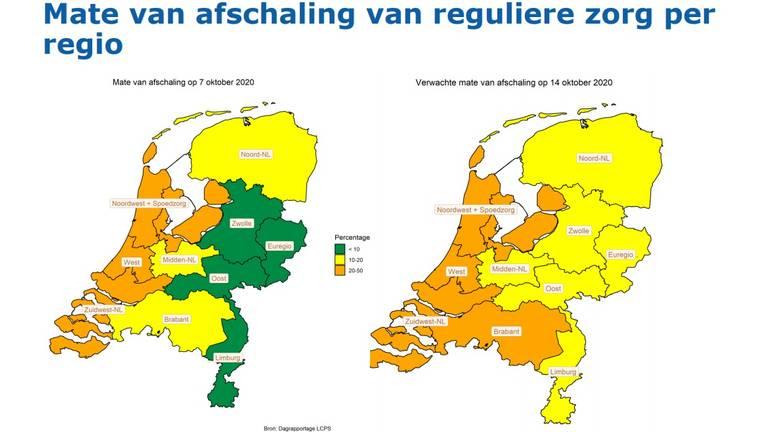 De Nederlandse Zorgautoriteit verwacht dat in Brabant tussen de 20 en 50 procent van de reguliere zorg moet worden afgeschaald (Screenshot presentatie Karina Raaijmakers).
