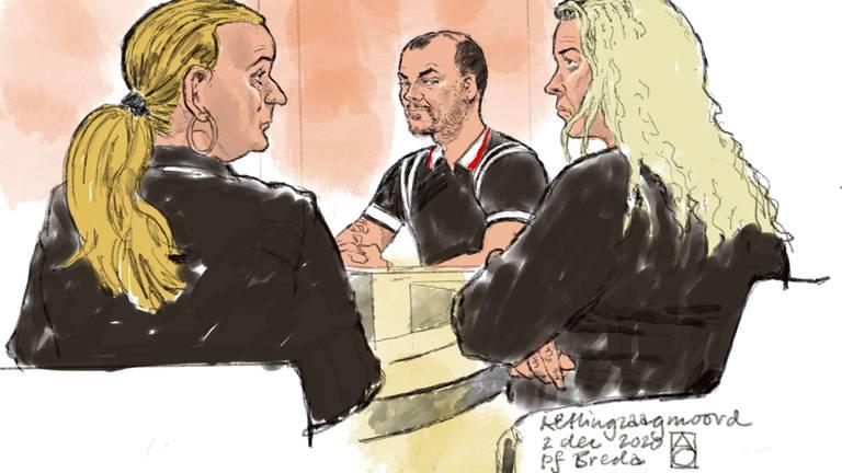 De drie hoofdverdachten, rechts Edna V. (tekening: Aloys Oosterwijk ANP)
