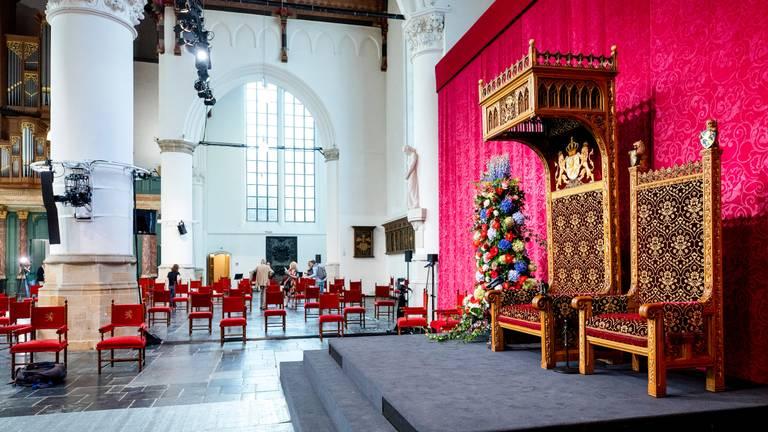 De Grote Kerk in Den Haag is klaar voor een unieke Prinsjesdag in coronatijd (foto: ANP / Sem van der Wal).