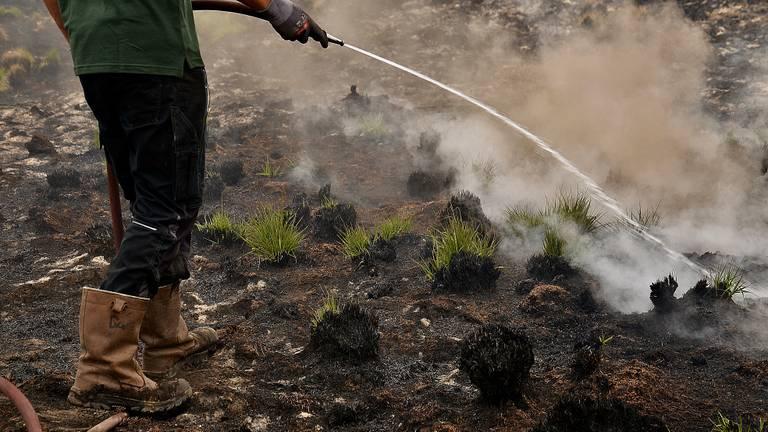 Dit straaltje water haalde niets uit tegen de rook (foto: Alice van der Plas).